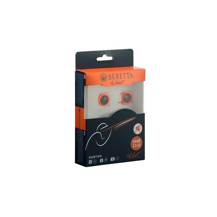 Beretta gehoorbescherming earphones mini headset passief kleur oranje, verpakking