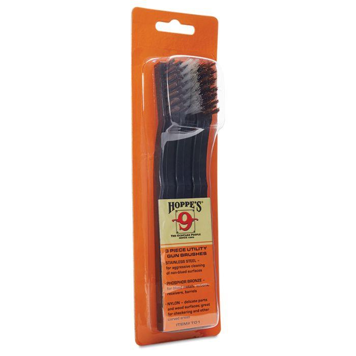 Hoppe's Utility Gun Cleaning Brushes, 3 Pack, Roestvrijstalen Borstel, Brons Borstel, Nylon Borstel #TO1